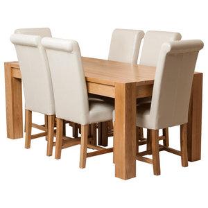 Kuba Chunky Oak Dining Table With 6 Washington Chairs, Ivory Leather