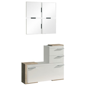 2-Piece Shoe Rack and Square Mirror Set, Eco and White