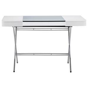 Cosimo Chrome Glass Top Desk, Matte White Lacquered Drawers