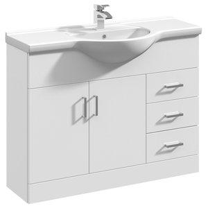 Mayford Gloss White Bathroom Vanity Unit With Ceramic Basin, 105 cm