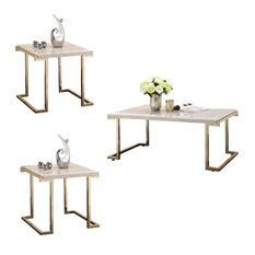 Boice II 3 Piece Modern Coffee Table and 2 End Tables Set in Faux Marble by Acme Furniture