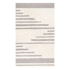 Contemporary Hand-Loomed Moroccan Abstract Diamonds Area Rug, Ivory, 6'x9'