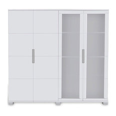 Hayes Modern Executive Wall Unit With Glass Doors and Shelving, White