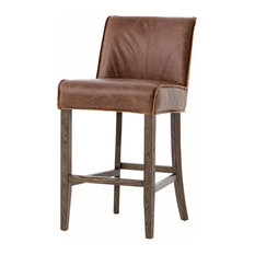 Aria Counter Stool, Brown Leather