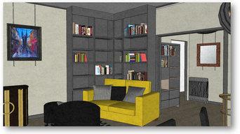 Rénovation, aménagement et décoration d'un espace séjour/entrée