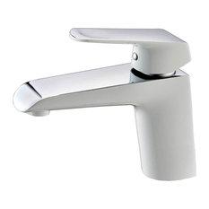Basin Faucet, White, Chrome Finish