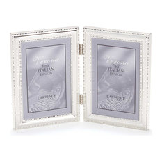 5x7 Hinged Double (Vertical) Metal Picture Frame Silver