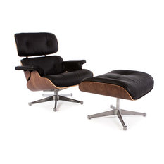Furniture Source Worldwide - Special Lounge Chair and Ottoman Walnut,  Genuine Aniline Leather, Black