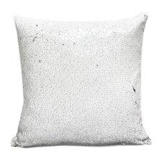 Glam Mermaid Sequin Throw Pillow, White/Silver