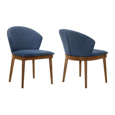 Set of 2 Dining Chair, Armless Design With Cushioned Padded Seat and Curved Back