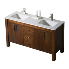 Parsons 60 Double Sink Vanity, Chestnut, White Sink, White Quartz Countertop