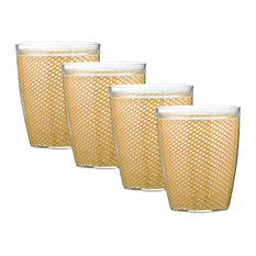 Kraftware Fishnet Double Wall Glasses, Camel, 14 oz, Set of 4