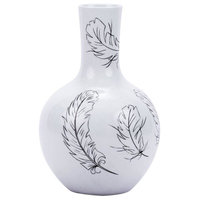 Vase Feathers Globular Round Black Colors