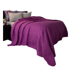 Lavish Home Solid Color Bed Quilt, Purple, Twin