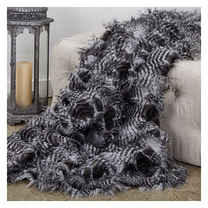 Plutus Porcupine Grey and Silver Faux Fur Luxury Throw