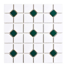 "11.5""x11.5"" Cambridge Porcelain Mosaic Floor/Wall Tiles, Set of 10, White/Green"