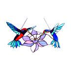 Nectar Tiffany-Glass Hummingbirds Window Panel