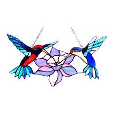 CHLOE Lighting, Inc. - Nectar Tiffany-Glass Hummingbirds Window Panel - Stained Glass Panels