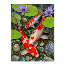 """Koi Under Lily Pads"" by Howard Robinson, Canvas Art"