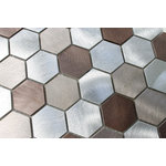 """Rocky Point Tile Co - Casablanca Brushed Aluminum Hexagon Mosaic Tile, 12""""x12"""" - Hexagon mosaic tiles are back in a big way! A balanced blend of warmth and coolness make this tile an easy choice for the home. Each tile is made from brushed aluminum with a circular polished finish. Colors include silver, taupe, and copper brown. Please note, these are not recommended for wet areas."""
