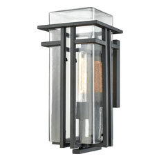 Croftwell 1-Light Outdoor Wall Sconce, Textured Matte Black With Clear Glass
