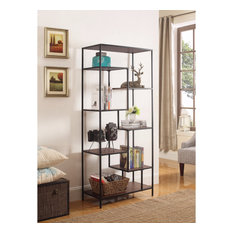 Metal Framed Bookcase With Open Shelves Black And Brown