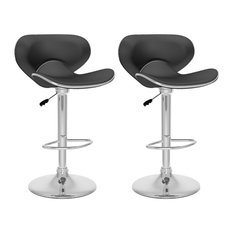 Corliving 33-inch Form Fitted Bar Stool In Black (Set Of 2)