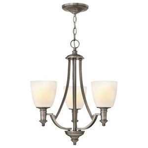 Modern 3-Arm Chandelier, Antique Nickel Finish