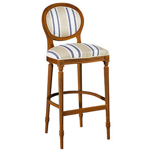 Classic Kitchen Stool With Striped Upholstery