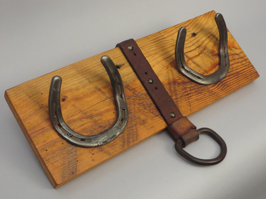 #H1402 HorseShoe Rack. Reclaimed Pine, Shoes & Tack Leather