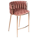 Statements by J - Milano Counter Chair, Rose - Buttery soft weaved velvet combined with brass legs creates this counter chair with sleek design.