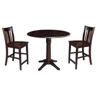 """Thomas 42"""" Round Pedestal Height Table, 2 Counter Height Stools, Rich Mocha"""