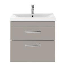 Wall-Hung Bathroom Vanity Unit, Stone Grey, 2 Drawers, Wide Rim Basin, 60 cm