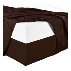 Split Corner 100% Cotton Sateen Solid Bed Skirt, Chocolate, California King