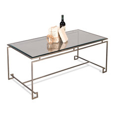 48-inch Alessandra Lines Coffee Table Iron Glass