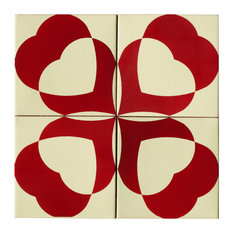Hearts Ceramic Tile Mural, 4 Tiles