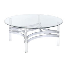 Coaster Fine Furniture Contemporary Round Gl Top Coffee Table With Acrylic Legs Chrome Base
