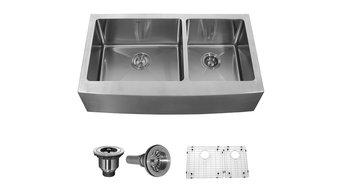Kraus 36 inch Farmhouse 70/30 Double Bowl 16 gauge Stainless Steel Kitchen Sink