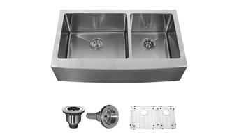 Kraus 36 inch Farmhouse 70/30 Double Bowl 16 gauge Stainless Steel Kitchen Sink