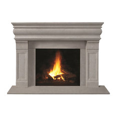 Fireplace Stone Mantel 1106.511 With Filler Panels, Limestone, With Hearth Pad