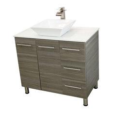 "Windbay 36"" Free Standing Vanity, Taupe Grey, White Stone Countertop"