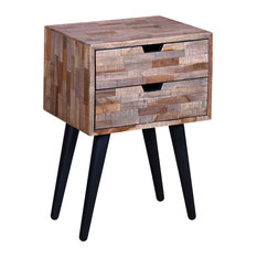 VidaXL Bedside Cabinet With 2 Drawers in Reclaimed Teak
