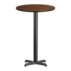 24'' Round Walnut Laminate Table Top With Bar Height Table Base