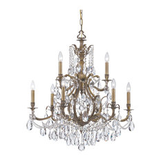 Crystorama Dawson 9-Light Clear Spectra Crystal Brass Chandelier II