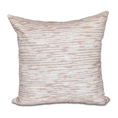 "Marled Knit, Geometric Print Outdoor Pillow, Taupe And Beige, 18""x18"""