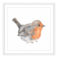 """Marmont Hill, """"English Robin"""" by Thimble Sparrow Framed Painting Print"""
