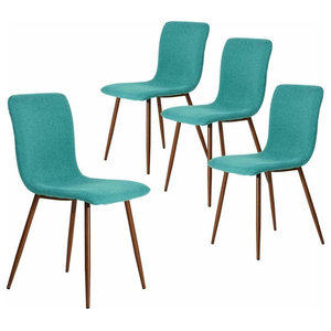 Contemporary Set of 4 Chairs, Metal Legs and Fabric Cushioned Seat, Green
