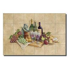 Broughton Wine Grapes Ceramic Tile Mural Backsplash