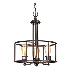 3-Light Antique Copper Round Farmhouse Industrial Pendant Chandelier