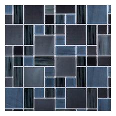 "10x10"" Truu Design Multi Square Peel and Stick Wall Tile, Dark Blue, Set of 6"